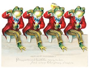 Four frogs in red tailcoats on a cutout Christmas card