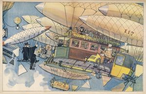 Futuristic air transport, with a traffic policeman