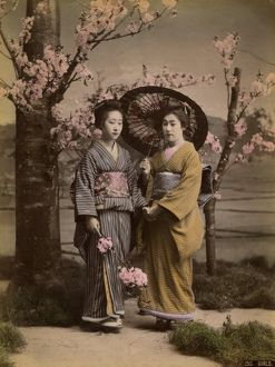 Two geishas and a parasol