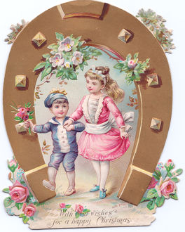 Girl and boy with flowers on a shaped Christmas card