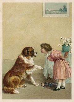 GIRL AND DOG/BEGGING