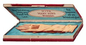 Glove box with greeting on a Victorian Christmas card