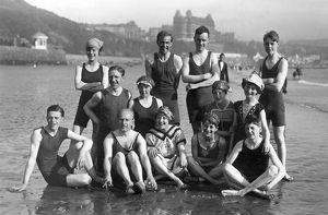 H. L. Oakley and others on the beach, Scarborough