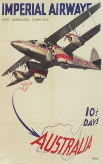 Imperial Airways Poster, flights to Australia