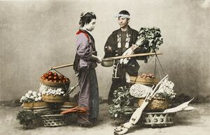 A Japanese vegetable seller and Geisha