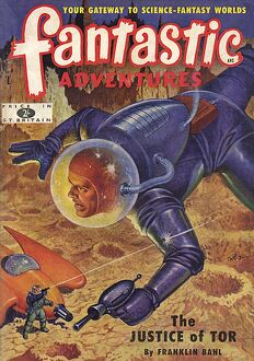 The Justice of Tor, Fantastic Adventures scifi magazine cover
