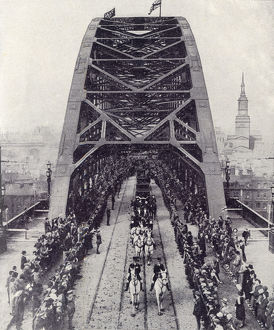 new items grenville collins collection/king george v opens tyne bridge