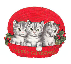 Three kittens in a basket on a cutout Christmas card