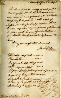 Letter from Captain Cook