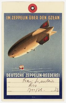 Luggage label, Zeppelin to South America