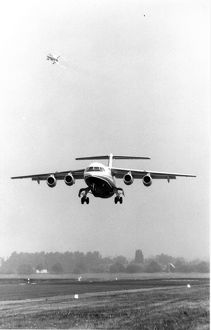The maiden flight of the first BAe146 G-SSSH from Hatfield