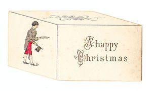 Man delivering a letter on a box-shaped Christmas card