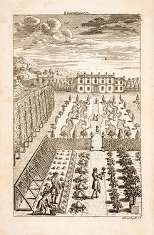Manor or country house garden, with workers.