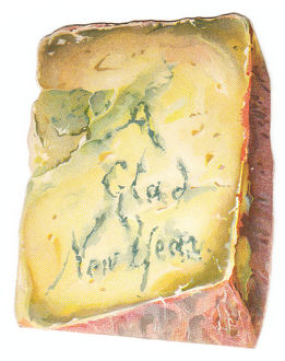 New Year card in the shape of a wedge of cheese