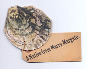 Oyster from Margate on a shell-shaped greetings card
