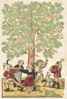 Peasants dancing round linden tree (main image).