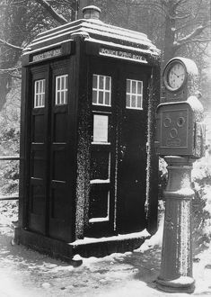 Police Public Call Box in the snow, London