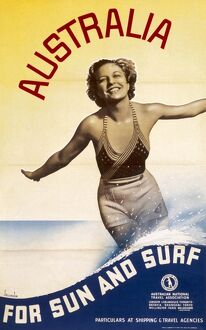 Poster advertising Australia for sun and surf