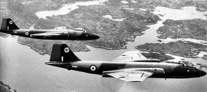 Two RAF English Electric Canberra PR9s over Malaya