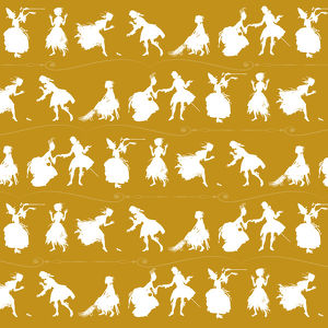 Repeating Pattern - Cinderella Story - yellow background