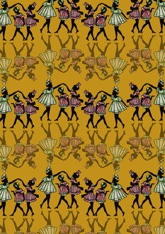 Repeating Pattern - Dancing girls - silhouette - yellow