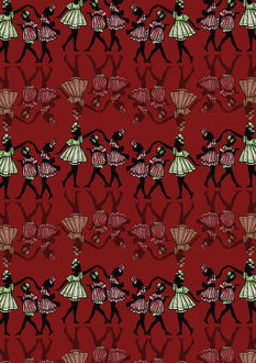 Repeating Pattern - Dancing girls - silhouette - red