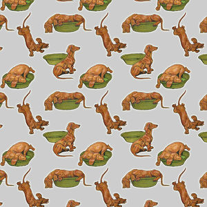 Repeating Pattern - Dog and Bowl