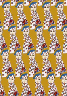Repeating Pattern - Girl in Union Jack Flag Scarf, yellow