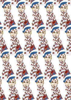Repeating Pattern - Girl in Union Jack Flag Scarf, white