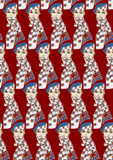 Repeating Pattern - Girl in Union Jack Flag Scarf, blue