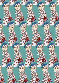 Repeating Pattern - Girl in Union Jack Flag Scarf, turquoise