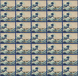 Repeating Pattern - Hokusai Great Wave - blue border