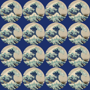 Repeating Pattern - Hokusai Great Wave - Circles