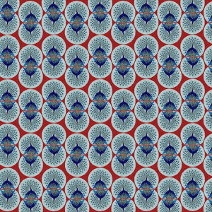 Repeating Pattern - peacocks, red