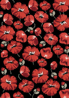 Repeating Pattern - Poppies - Black background