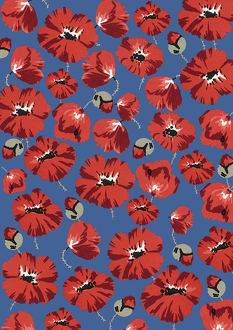 Repeating Pattern - Poppies - Blue background