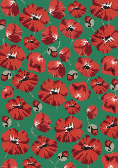 Repeating Pattern - Poppies - Green background