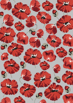 Repeating Pattern - Poppies - Grey background