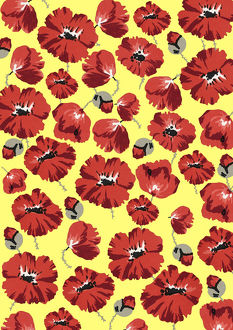 Repeating Pattern - Poppies - Yellow background