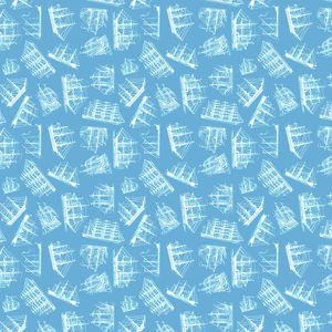 Repeating Pattern - Sailing Ships - pale blue background