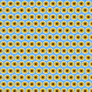 Repeating Pattern - Sunflowers - Blue Background