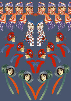 Repeating Pattern - Four women - scarves and hats