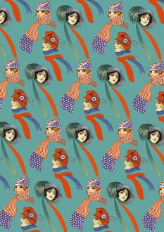 Repeating Pattern - three women, scarves and hats, turquoise
