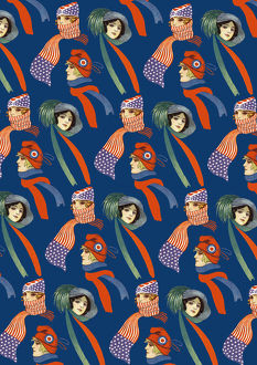 Repeating Pattern - three women in scarves and hats, blue