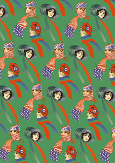 Repeating Pattern - three women in scarves and hats, green