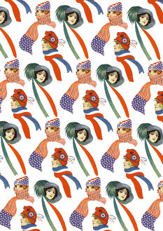 Repeating Pattern - three women in scarves and hats, white