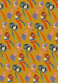 Repeating Pattern - three women in scarves and hats, yellow