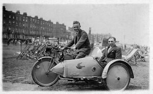 Rex Motorcycle and Sidecar - on the beach at Margate