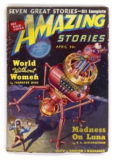 Robot Saves Humanity, Amazing Stories Scifi Magazine Cover