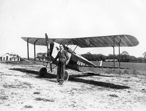 Roy Chadwick with the first, short-lived Avro 534 Baby proto